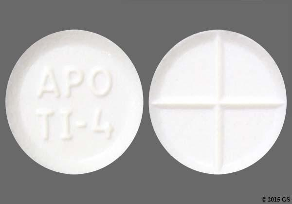 White Round Apo Ti-4 - Tizanidine Hydrochloride 4mg Tablet